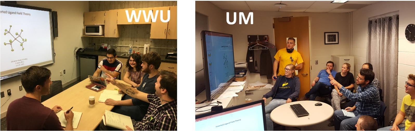 "left: Students surround a table, focused on a projection of molecules. The picture is labeled ""WWU"" right: students look at a screen. The photo is labeled ""UM"""