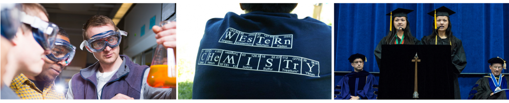 Photo compilation 1: Dr. Gilbertson with students in lab holding glassware 2: students back wearing western chemistry shirt 3: students speaking at graduation