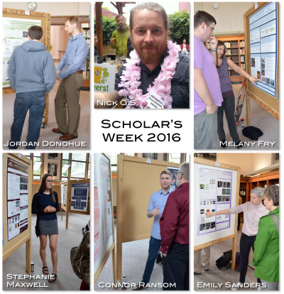 Photo collage of students and their posters at scholars week 2016
