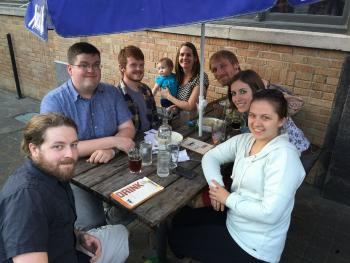 Murphy group out at drinks after student completed thesis defense